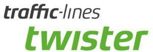 Logo mit Text : traffic-lines twister