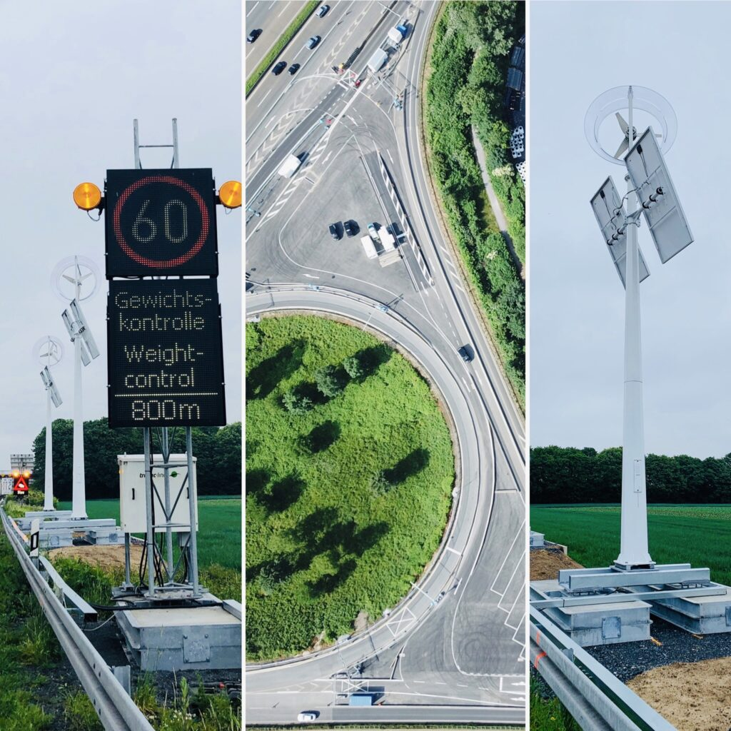 Bild Fahrzeugdifferenzierung Straße + Schilder +Energieversorgung