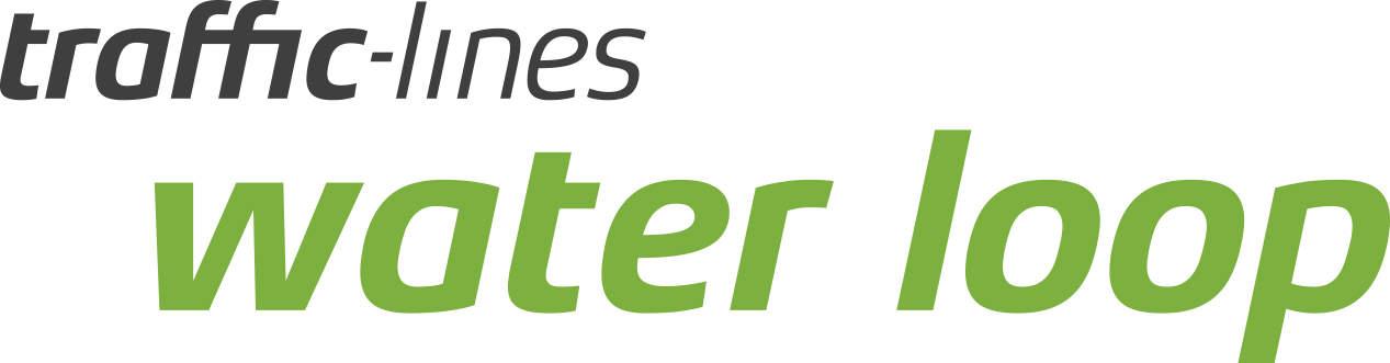 Logo mit Text : traffic-lines water loop